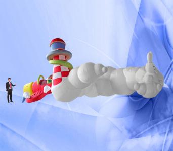 Пневмоконструкция Облака и самолет