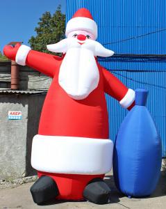 Пневмостенд Дед Мороз с синим мешком
